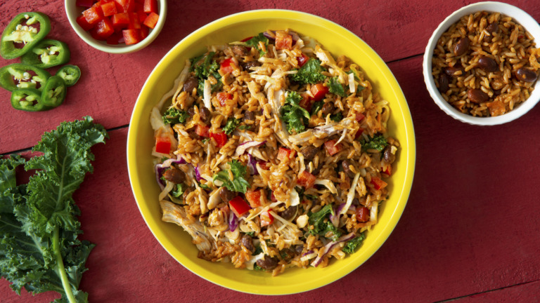 Spicy Chicken and Rice Southwest Slaw