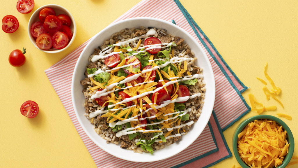 Veggie burger with brown and wild rice bowl