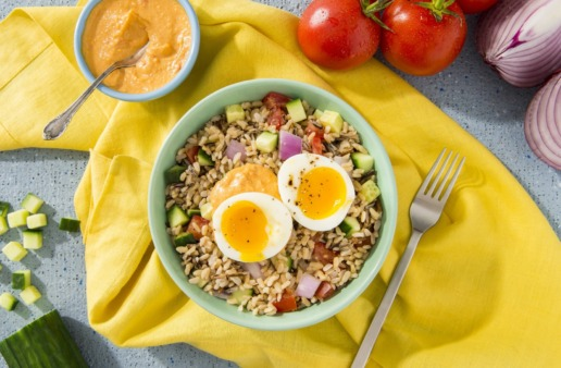 Brown-and-Wild-Rice-Bowl-with-Hummus-Fresh-Vegetables-and-Poached-Egg