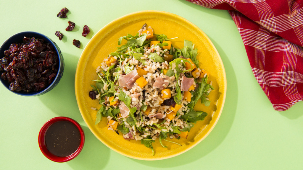 Thanksgiving salad with Arugula, Rice & Quinoa, butternut squash and proscuitto