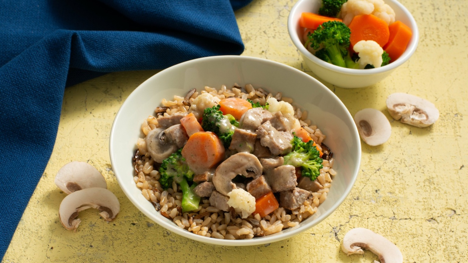 Brown and Wild Rice with Sausage and Mushroom Gravy