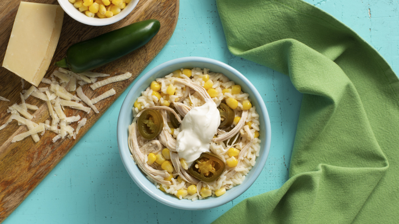 Creamed Corn and Jalapeño Chicken Rice