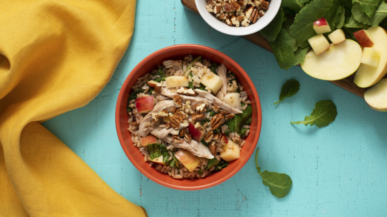 Kale, Turkey and Brown Rice Salad with Cranberry Dressing