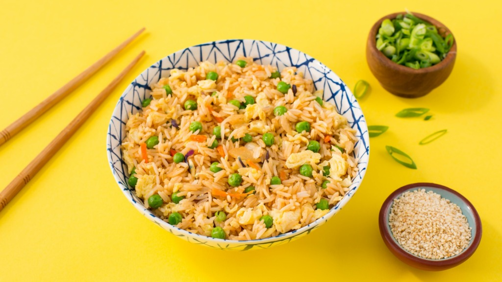 microwave-fried-rice-with-egg-scallions-carros-peas-and-sesame-seeds