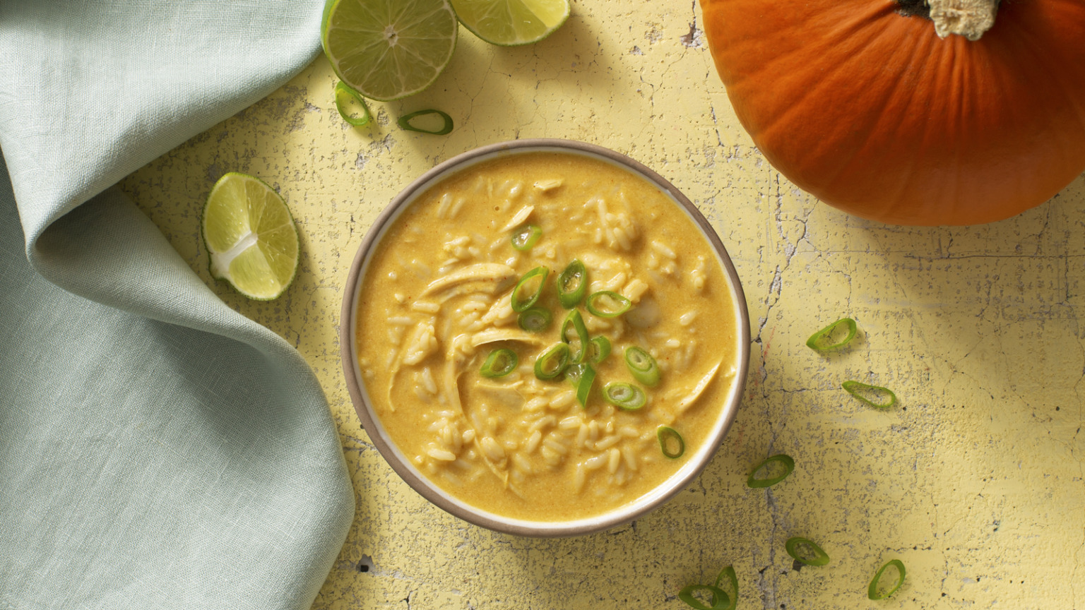 Pumpkin Curry Turkey Soup with Rice