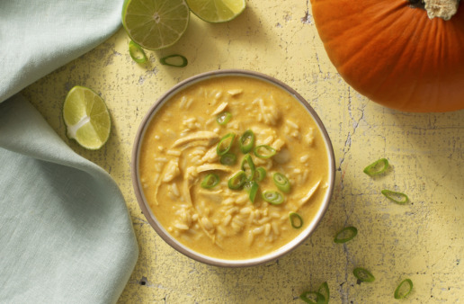Pumpkin Curry Turkey Soup with Rice and pumpkin pie spice