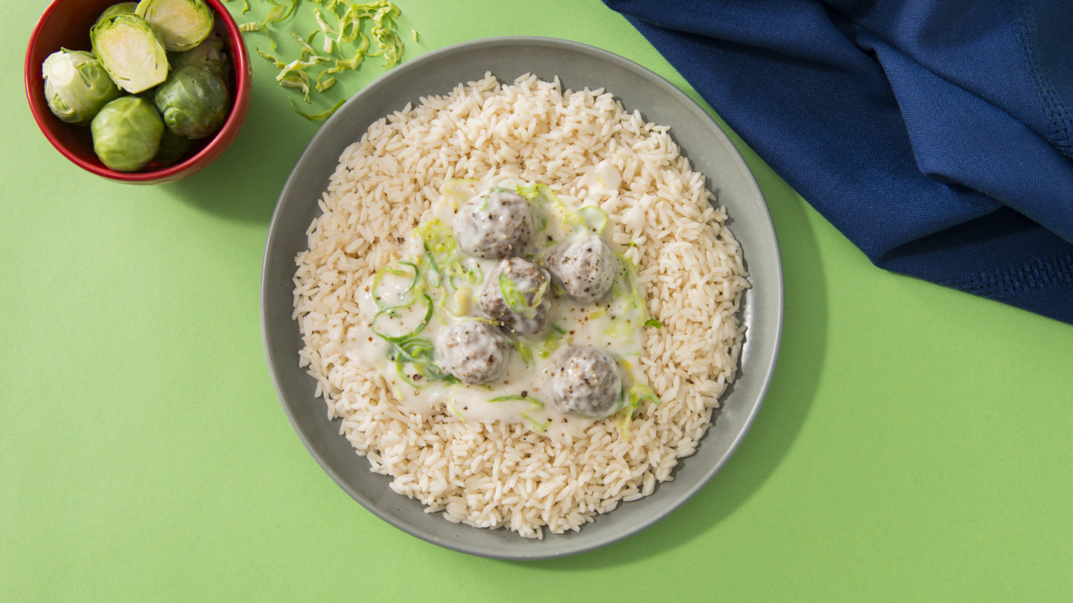 Shredded Brussels Sprouts and Meatball Rice