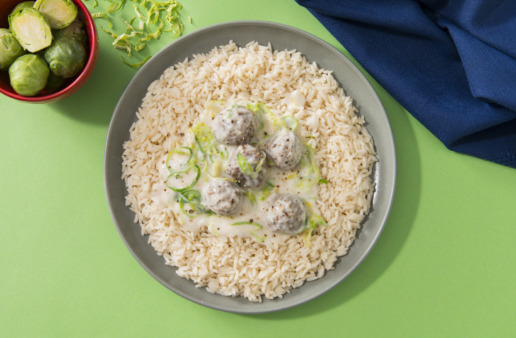 Shredded Brussels Sprout and Meatball Rice