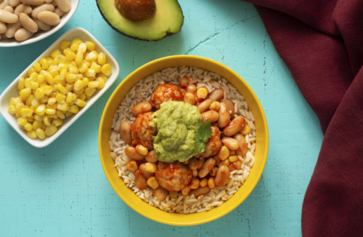 chili-bowl-with-white-beans-white-rice-and-turkey-meatballs-topped-with-guacamole