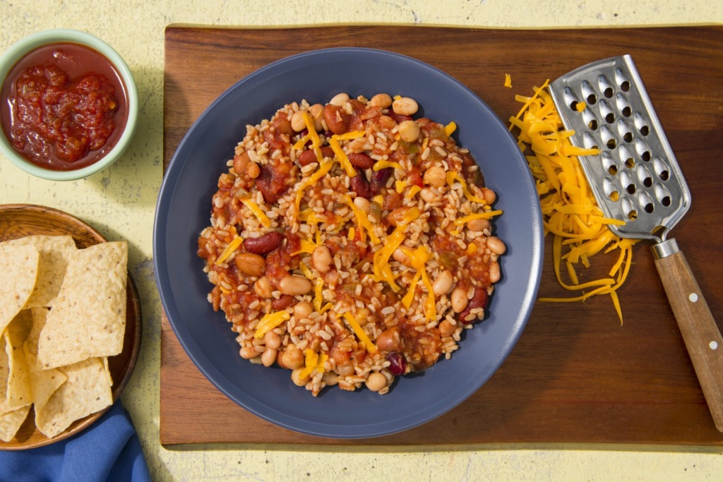 Vegetarian-bean-chili-with-brown-rice-and-cheddar-cheese
