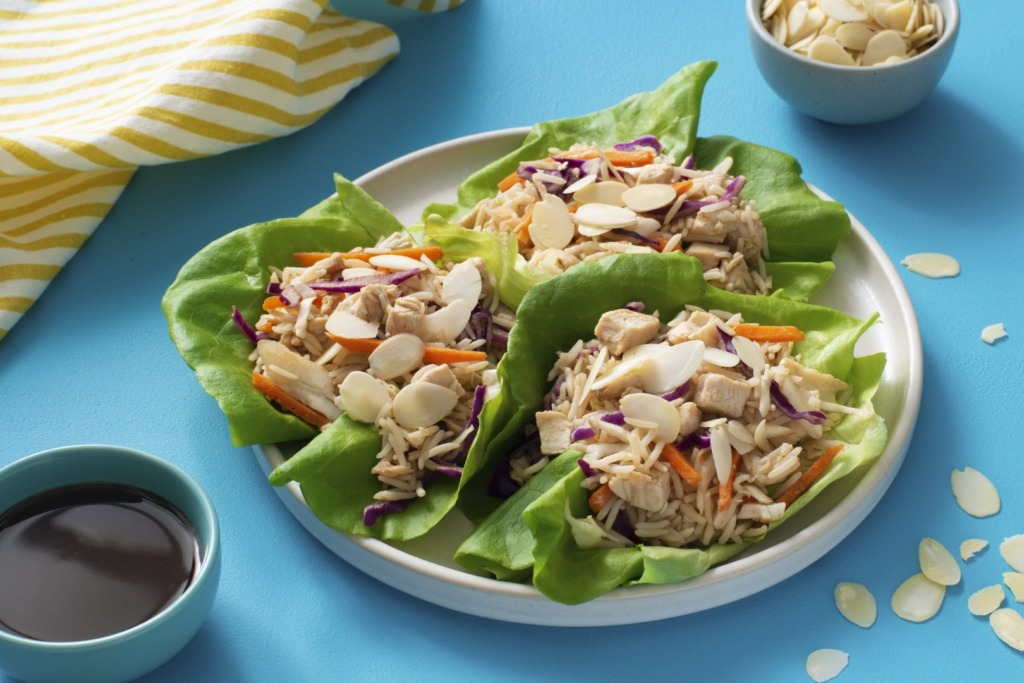 asian-inspired-lettuce-cups-filled-with-basmati-rice-chicken-and-almonds
