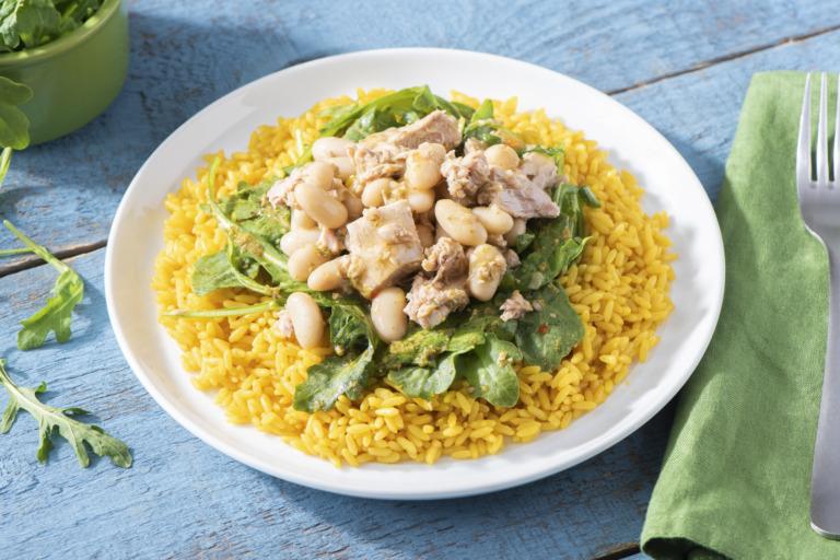 Tuna and Bean Pesto Rice Bowl