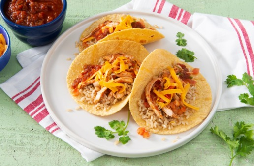 Soft-tacos-with-chicken-salsa-taco-seasoning-corn-tortillas-cheddar-cheese-and-brown-rice