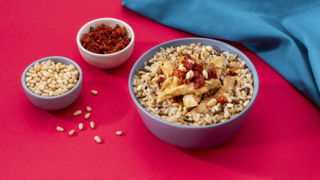 chicken-and-rice-bowl-with-balsamic-vinaigrette-sun-dried-tomatoes-and-pine-nuts