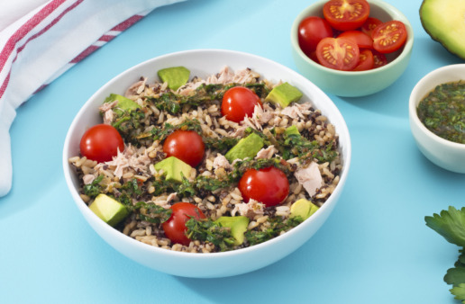 tuna-salad-with-brown-rice-quinoa-cherry-tomatoes-avocado-and-chimichurri-sauce