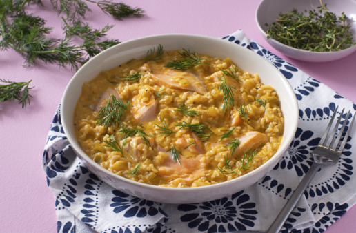 salmon-chowder-with-jasmine-rice-topped-with-fresh-dill