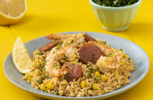 Cajun-style-boil-rice-with-shrimp-and-smoked-sausage