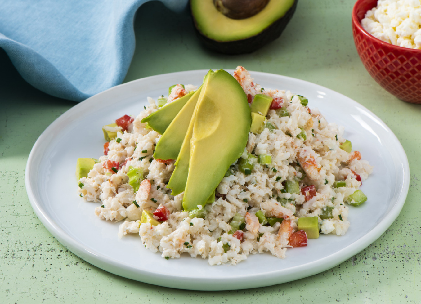 Creamy Avocado, Crab and Rice Salad