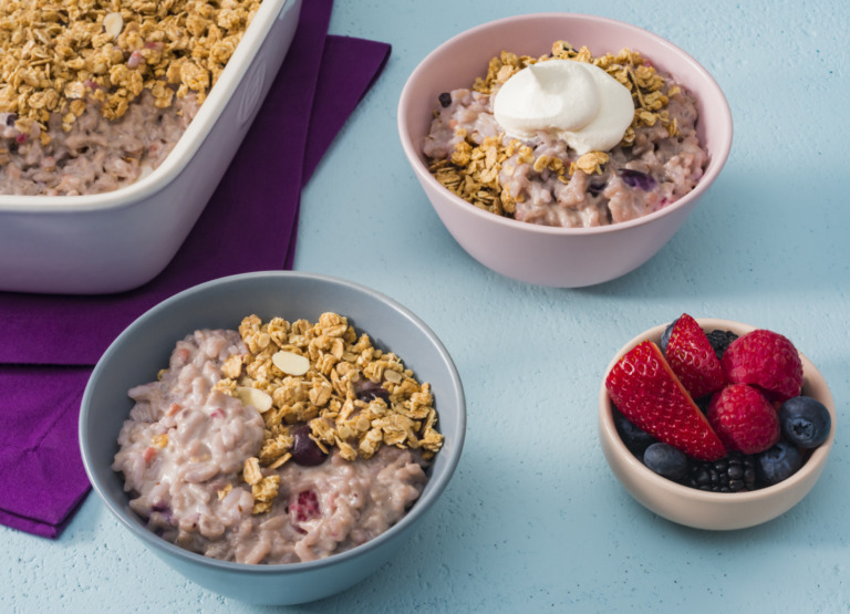 Summer Berry Rice Pudding Crumble