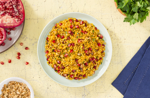 Persian rice with brown rice and pomegranite