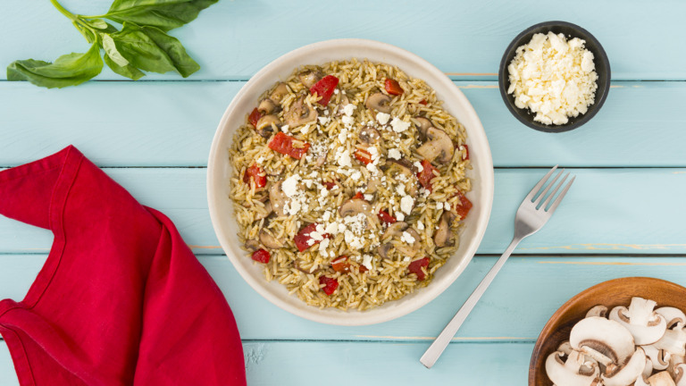 Pesto Rice with Roasted Red Peppers, Mushrooms and Feta