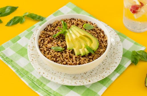 spiced-quinoa-rice-topped-with-sliced-avocado