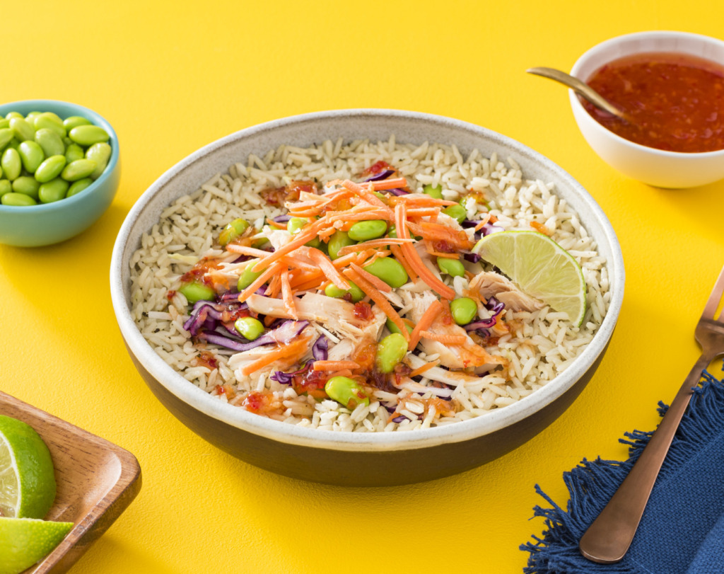 thai-sweet-chili-rice-with-shredded-rotisserie-chicken-and-edamame
