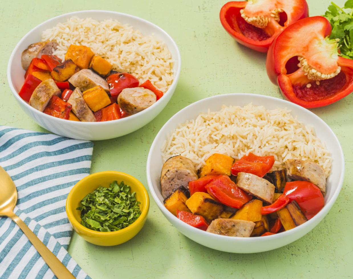 Turkey Sausage Sheet Pan Dinner Bowls