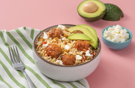 Vegetable-Mexican-Meatballs-And-Rice-with-avocado
