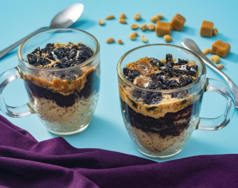 Layered Chocolate-Caramel Rice Pudding Cake