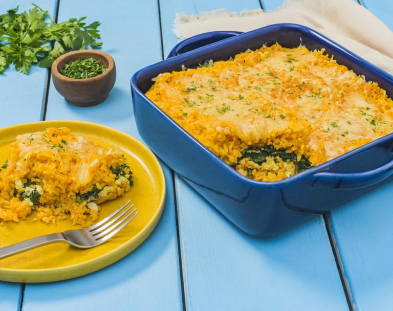 Pumpkin and Spinach Layered Rice Casserole